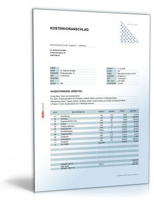 Kostenvoranschlag/Angebot für Maler- und Lackierarbeiten