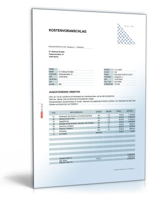 Kostenvoranschlag/Angebot für Dachgestaltung und -sanierung