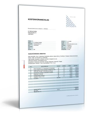 Kostenvoranschlag / Angebot für Tischler- und Holzarbeiten