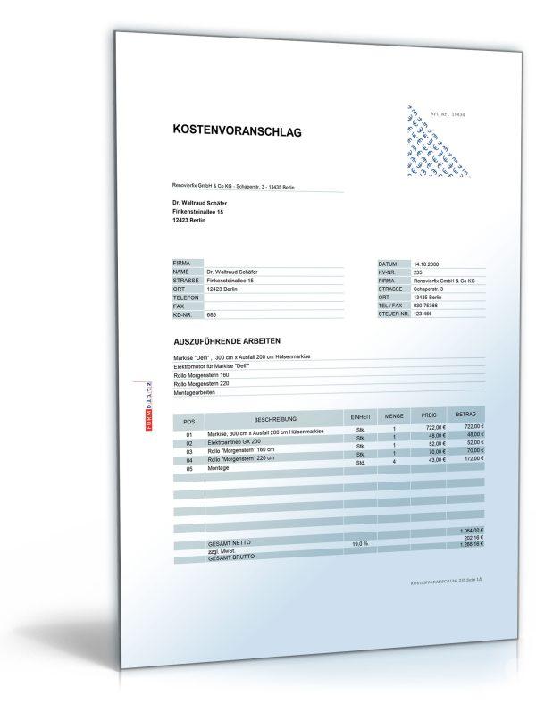 Kostenvoranschlag Angebot Montage Von Rolll Den Rollos