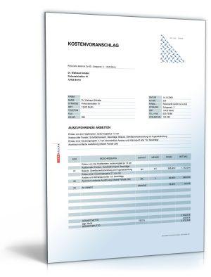 Kostenvoranschlag / Angebot für Fenster- und Türeinbau