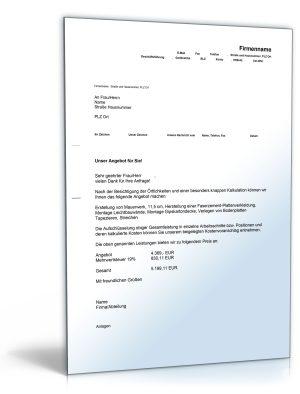 Kostenvoranschlag / Angebot für Trockenbau-, Maurer- und Malerarbeiten