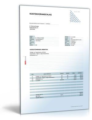 Kostenvoranschlag / Angebot für die Verlegung von Bodenbelägen