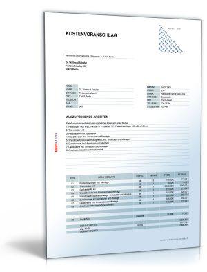 Kostenvoranschlag / Angebot für Heizungs-, Gas- und Sanitärarbeiten