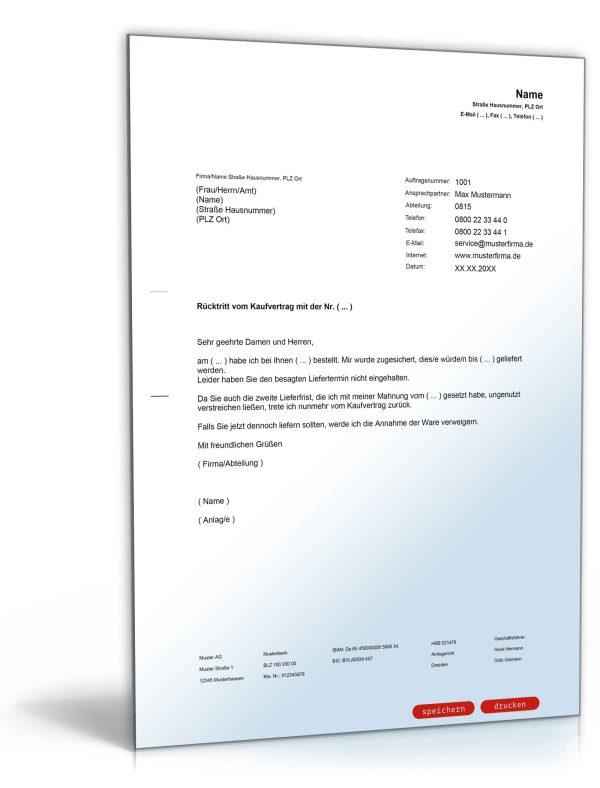 Rücktritt vom Kaufvertrag wegen verzögerter Lieferung 1
