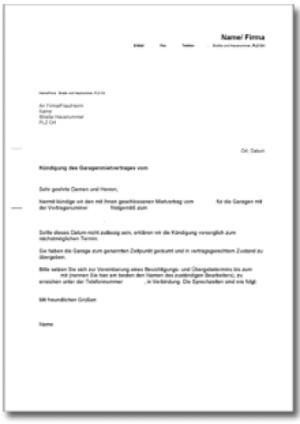 Kündigung Garagenmietvertrag (fristgemäß, Vermieter)