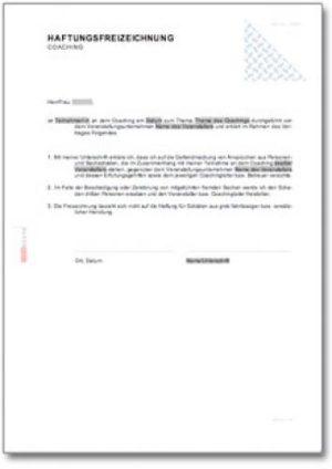 Haftungsfreizeichnung - Coaching