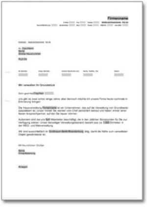 Werbebrief für eine Hausverwaltung