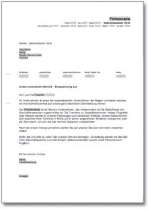 Werbebrief für einen Limousinenservice