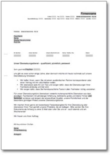 Werbebrief für ein Übersetzungsbüro