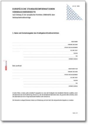 Europäische Standardinformationen für Verbraucherkredite