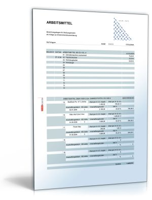 Rechentabelle: Werbungskosten Arbeitsmittel (ohne Mehrwertsteuer)