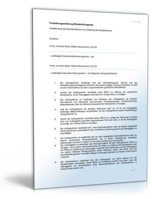 Freistellungserklärung Mindestlohngesetz