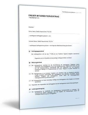 Freier Mitarbeitervertrag für Taxifahrer