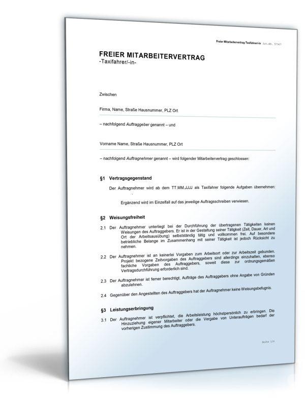 Freier Mitarbeitervertrag für Taxifahrer 1