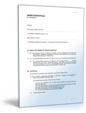 Arbeitsvertrag für Taxifahrer
