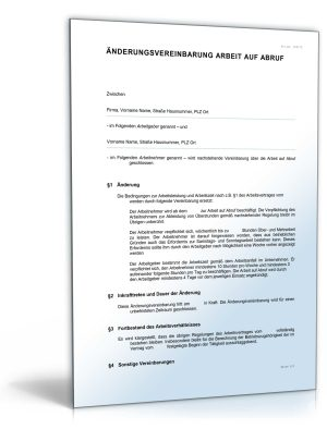 Änderungsvereinbarung (Arbeit auf Abruf)
