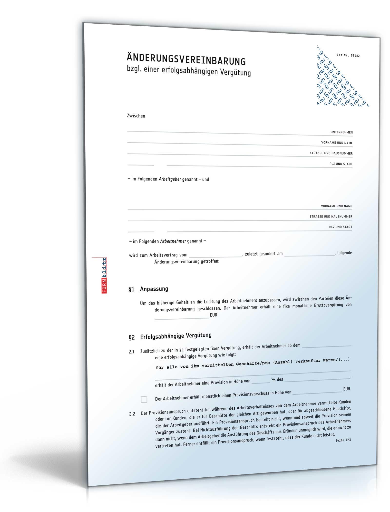Änderungsvereinbarung (Provision)