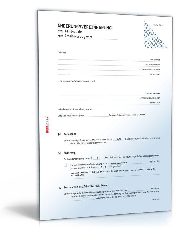 Änderungsvereinbarung (Mindestlohn) 1