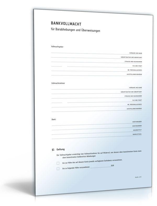 Bankvollmacht für Barabhebungen und Überweisungen 1