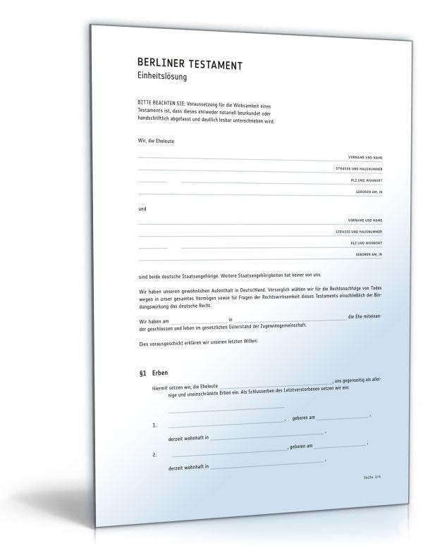 Berliner Testament (Einheitslösung) 1