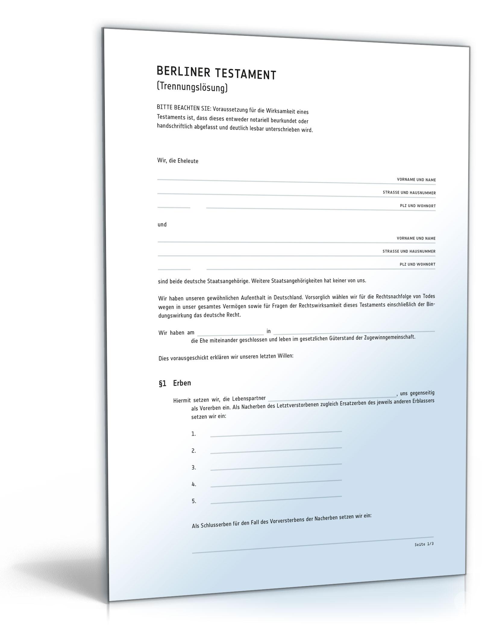 Berliner Testament (Trennungslösung)