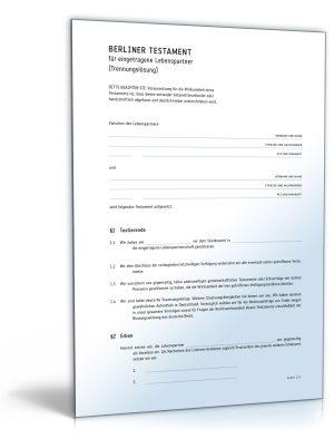 Berliner Testament für eingetragene Lebenspartner (Trennungslösung)