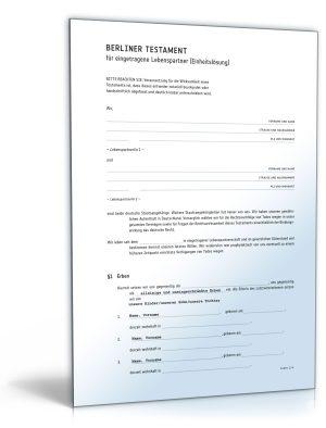 Berliner Testament für eingetragene Lebenspartner (Einheitslösung)