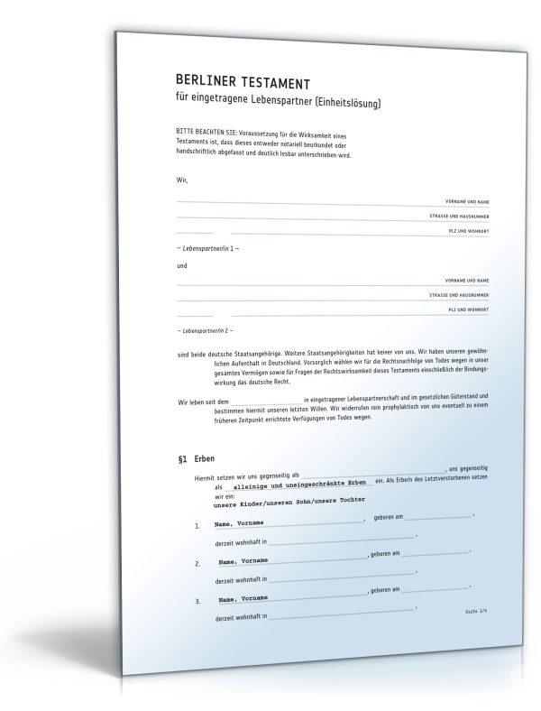 Berliner Testament für eingetragene Lebenspartner (Einheitslösung) 1