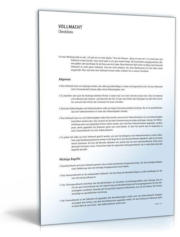 Checkliste für eine Vollmacht 1