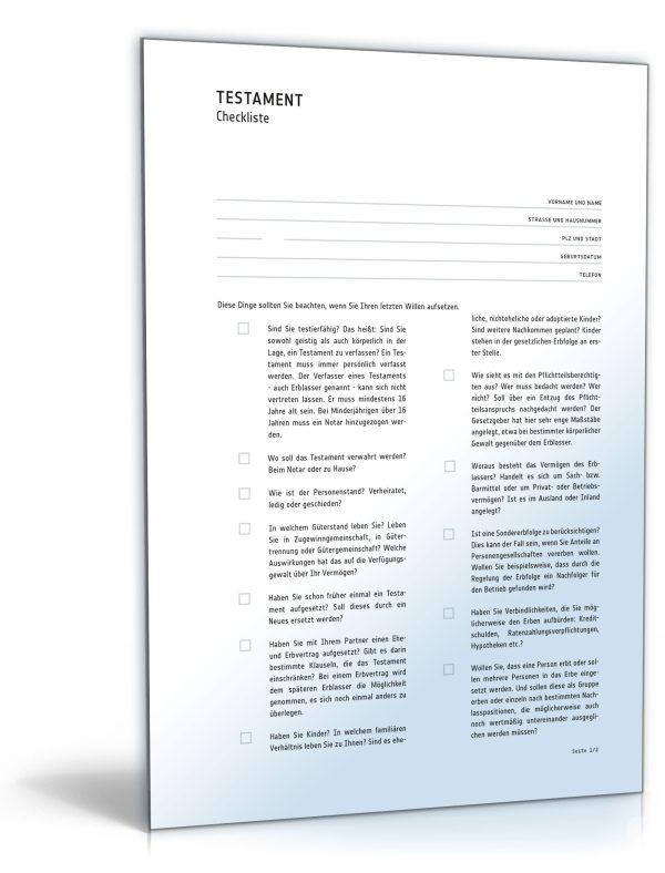 Checkliste Testament 1
