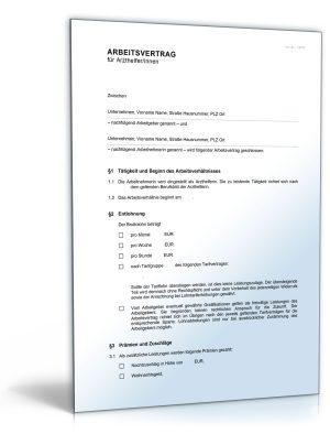Arbeitsvertrag für medizinische Fachangestellte (MFA)