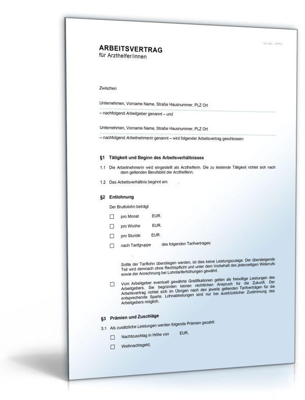 Arbeitsvertrag für medizinische Fachangestellte (MFA) 1