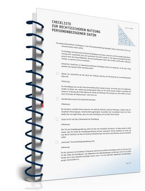 Checkliste zur rechtssicheren Nutzung personenbezogener Daten