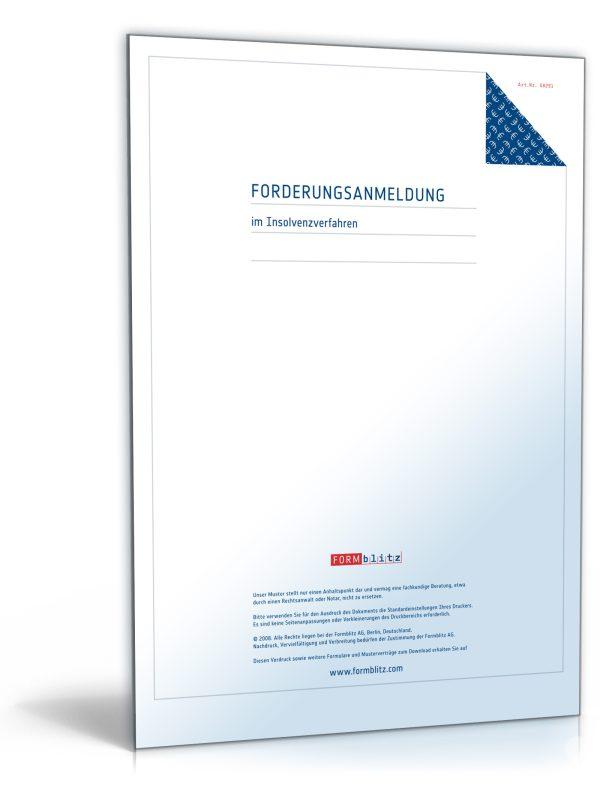 Anmeldung einer Forderung im Insolvenzverfahren 1