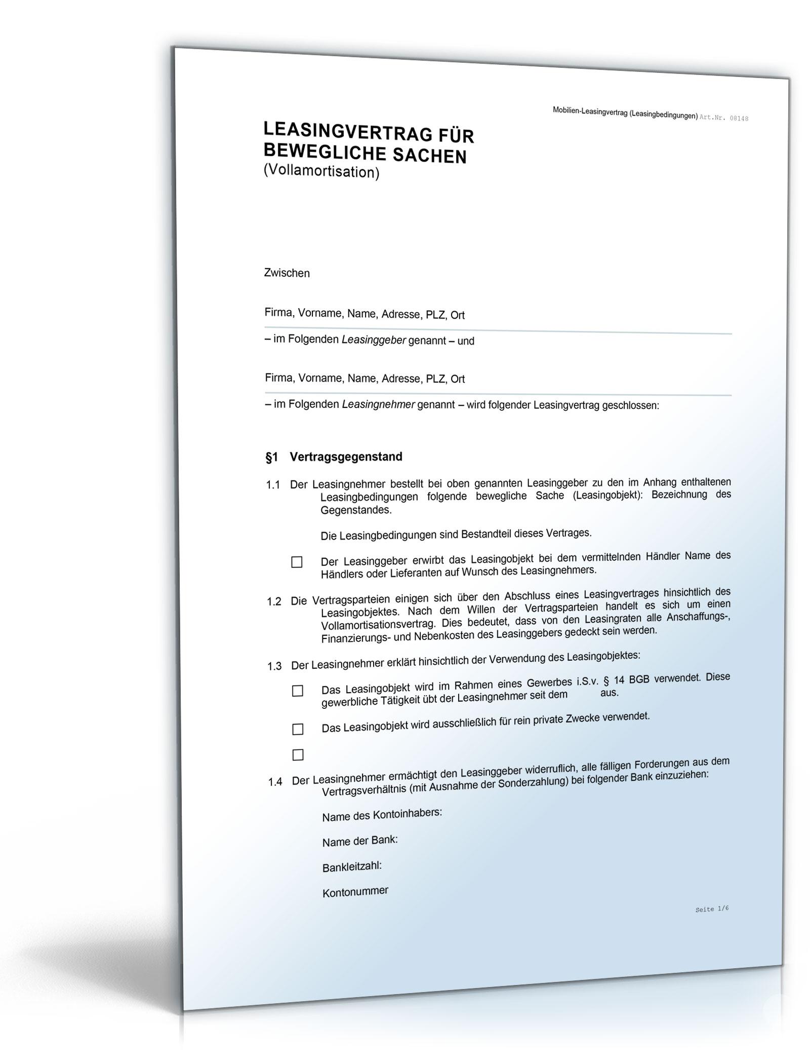 Mobilien-Leasingvertrag (Vollamortisation)