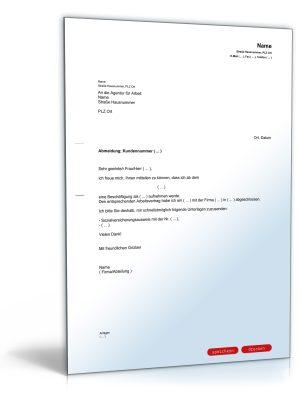 Mitteilung an die Agentur für Arbeit (über Aufnahme eines Arbeitsverhältnisses)
