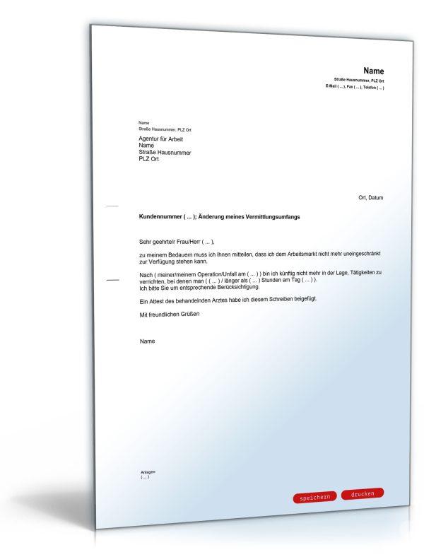 Mitteilung an die Agentur für Arbeit (Änderung des Vermittlungsumfanges) 1