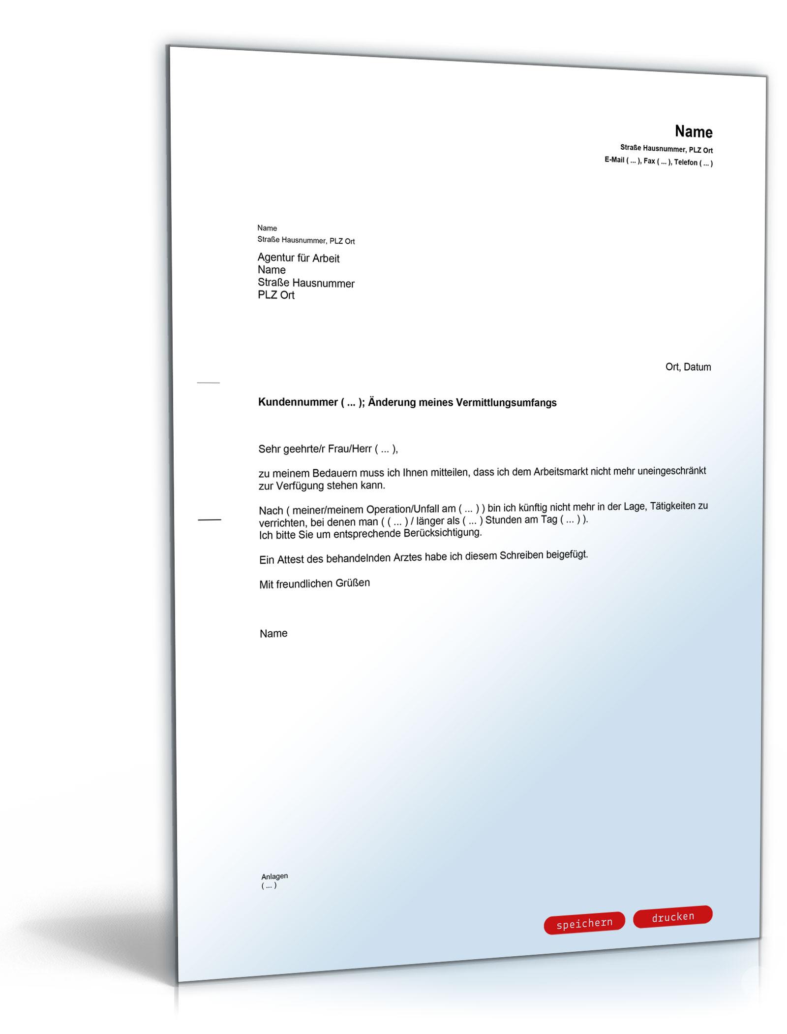 Mitteilung an die Agentur für Arbeit (Änderung des Vermittlungsumfanges)