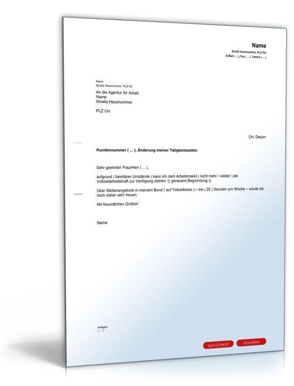 Mitteilung an die Agentur für Arbeit (Änderung der Tätigkeitszeit) 1