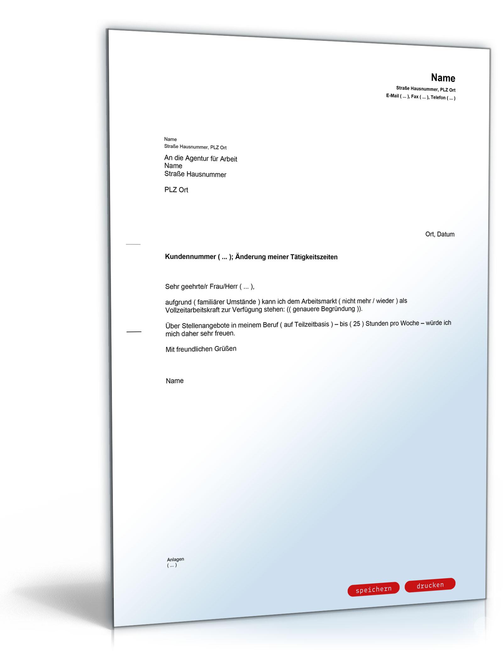 Mitteilung an die Agentur für Arbeit (Änderung der Tätigkeitszeit)
