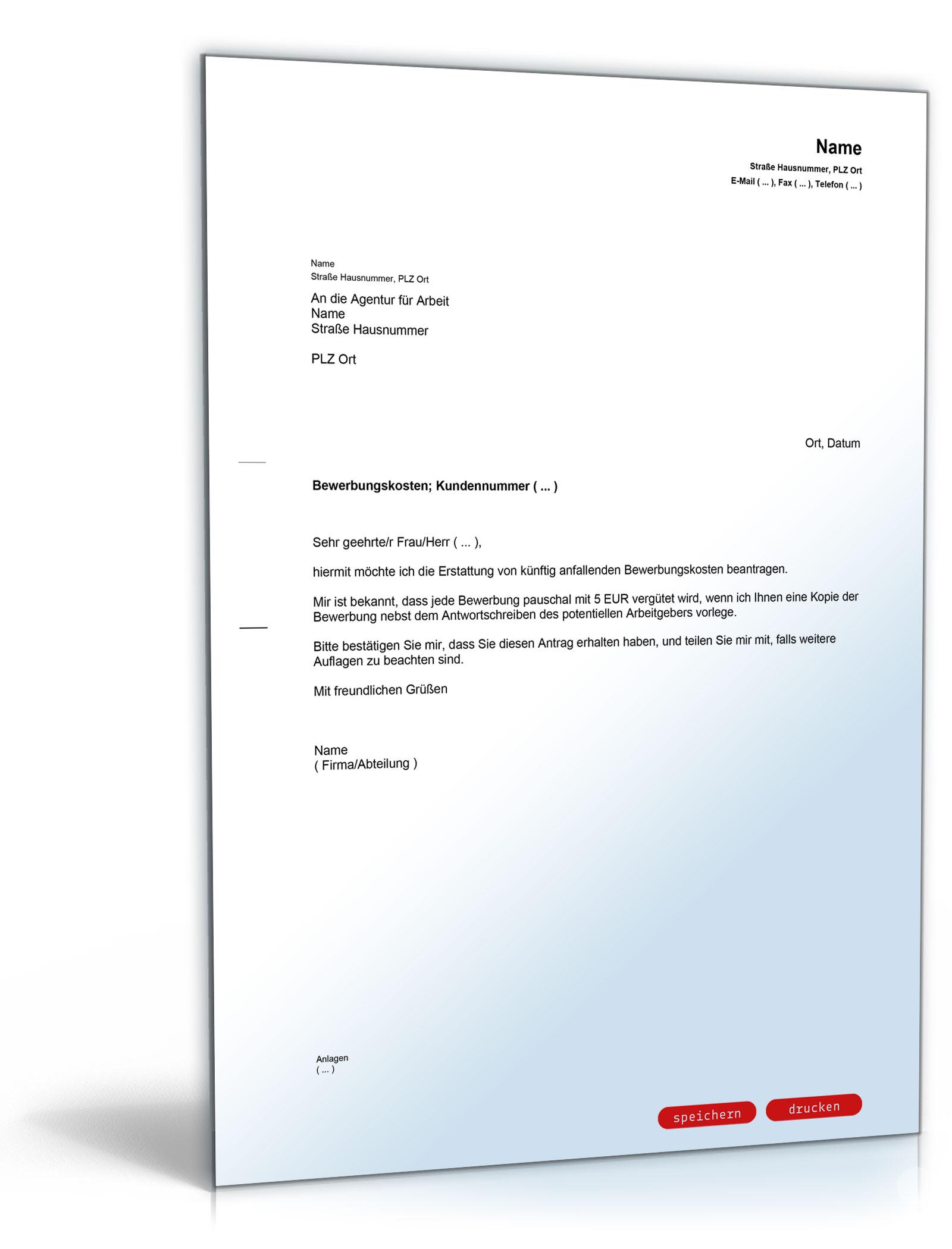 Antrag auf Erstattung von Bewerbungskosten bei der Agentur für Arbeit