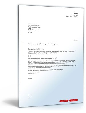 Antrag auf Erstattung von Umschulungskosten bei der Agentur für Arbeit