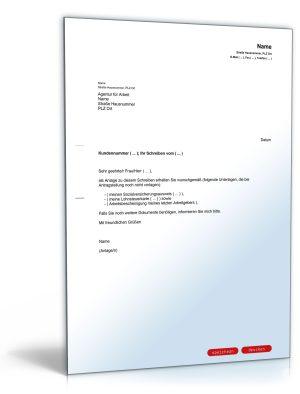 Begleitschreiben an die Agentur für Arbeit (Zusendung von Unterlagen)