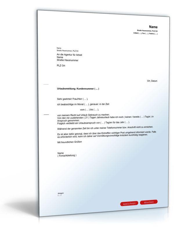 Urlaubsantrag / Urlaubsmeldung bei der Agentur für Arbeit 1