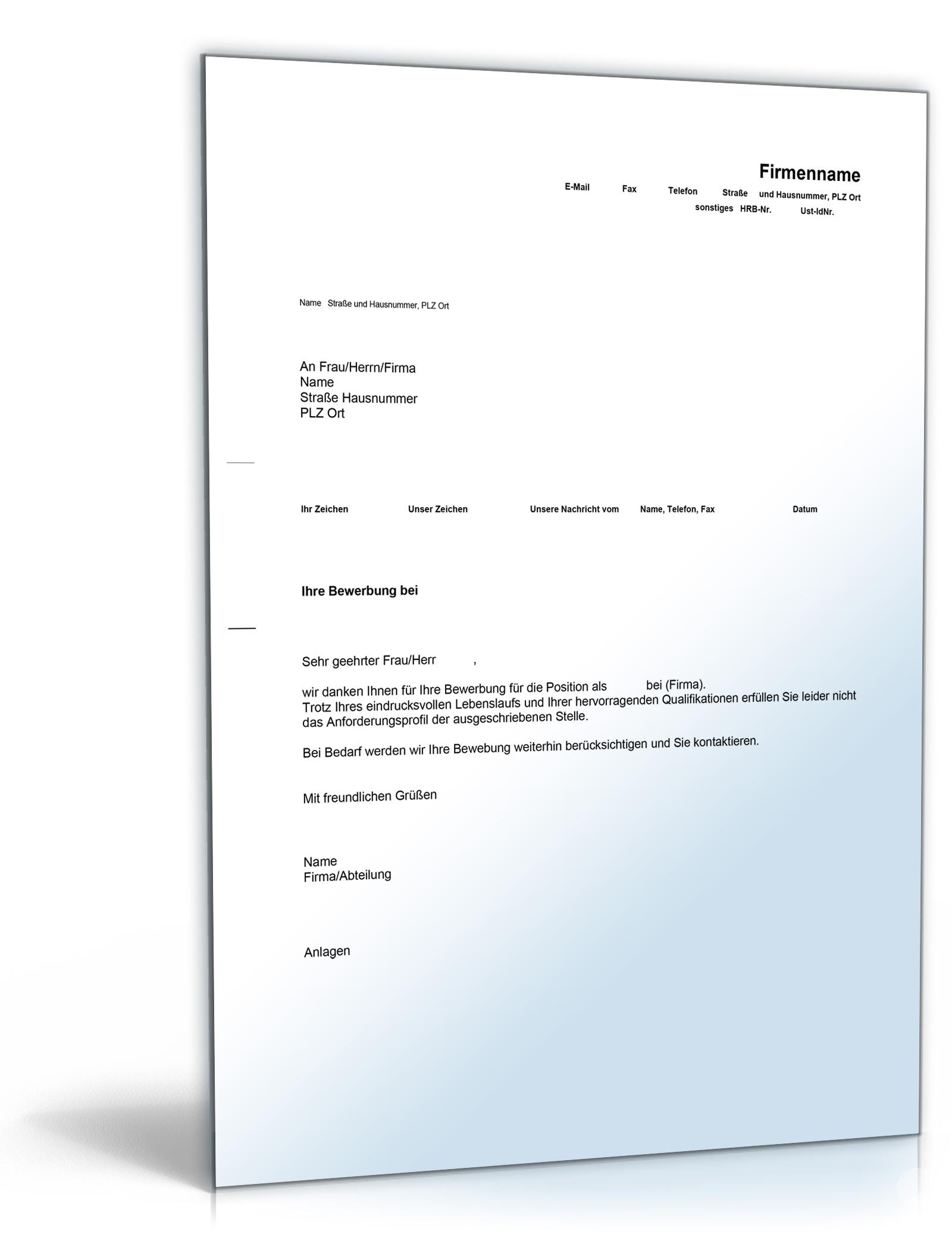 absage ohne vorstellungsgespräch (englisch/deutsch) ⋆, Einladung
