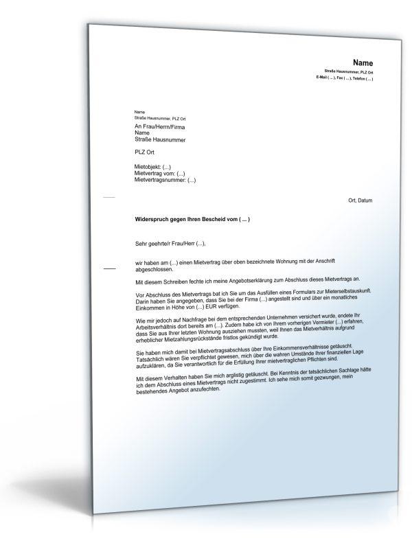 Anfechtung des Mietvertrages wegen falscher Angaben zum Einkommen 1