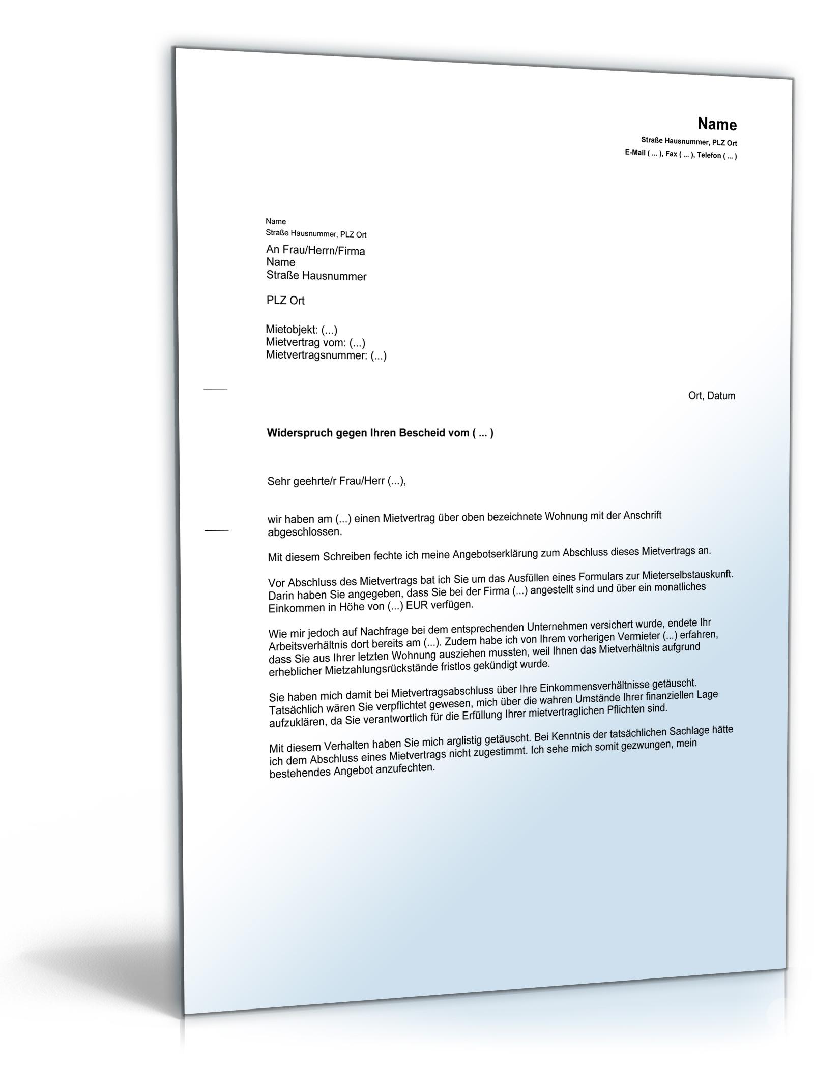 Anfechtung des Mietvertrages wegen falscher Angaben zum Einkommen