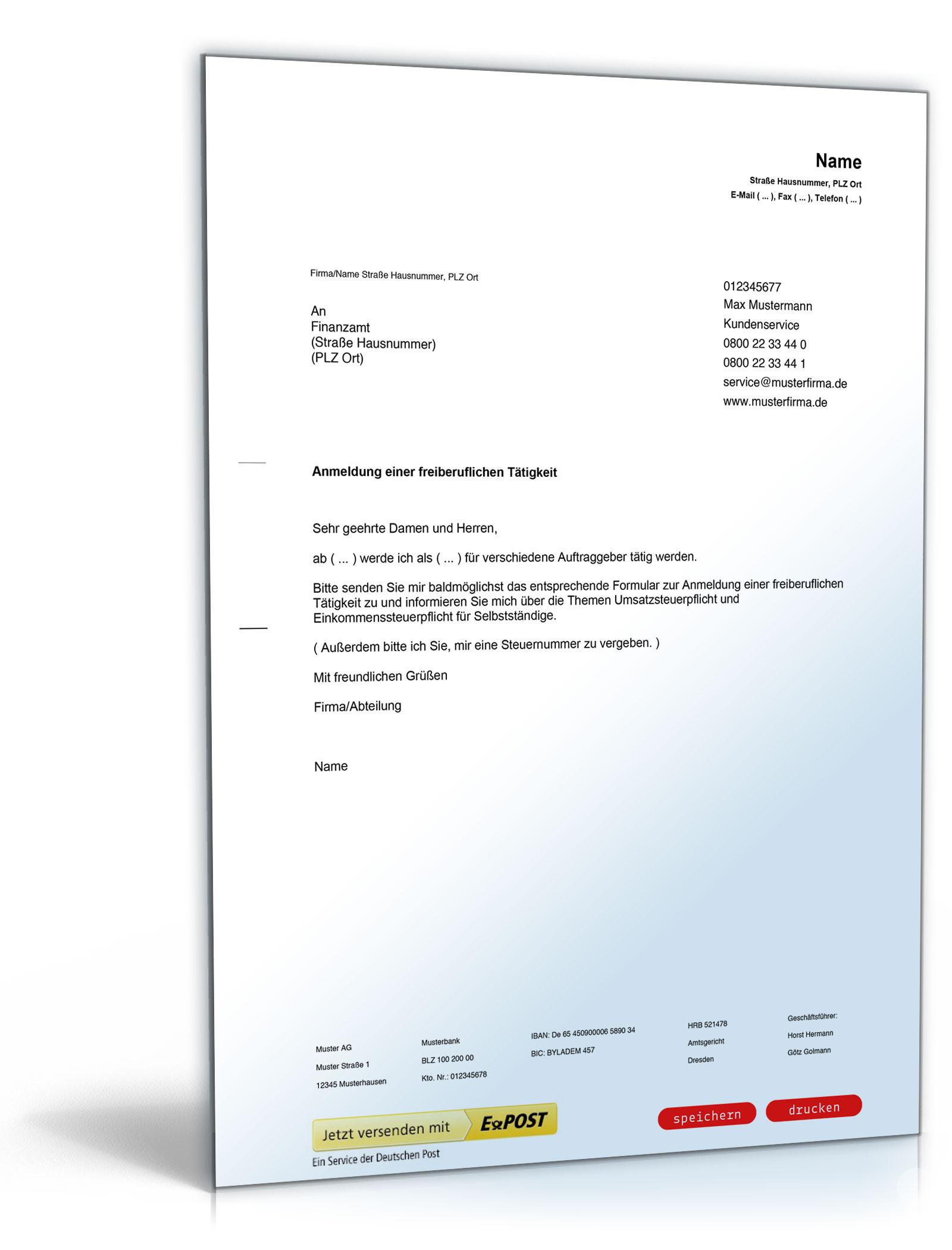 Anmeldung einer freiberuflichen / selbstständigen Tätigkeit beim Finanzamt