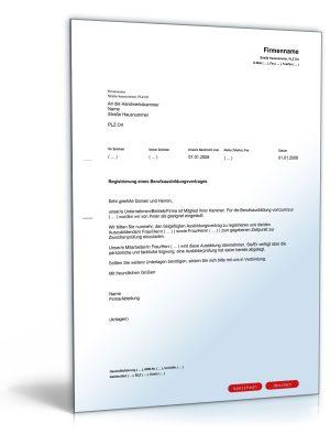 Anmeldung eines Berufsausbildungsvertrages bei der Handwerkskammer